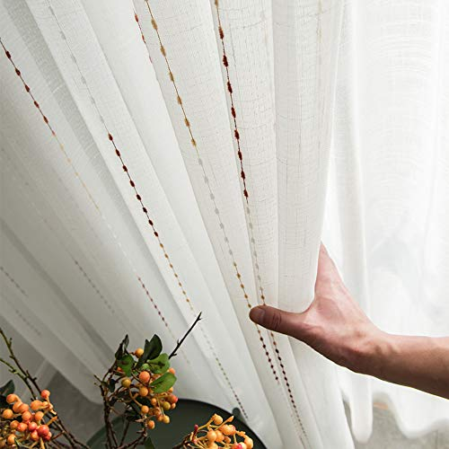 Pureaqu White Sheer Curtains 84 Inches Long Bedroom Stripes Patterned with Embroidered Brown Dots Rod Pocket Faux Linen Voile Drapes Panels for French Door/Patio Doors 1 Panel W39 x H84 Inch