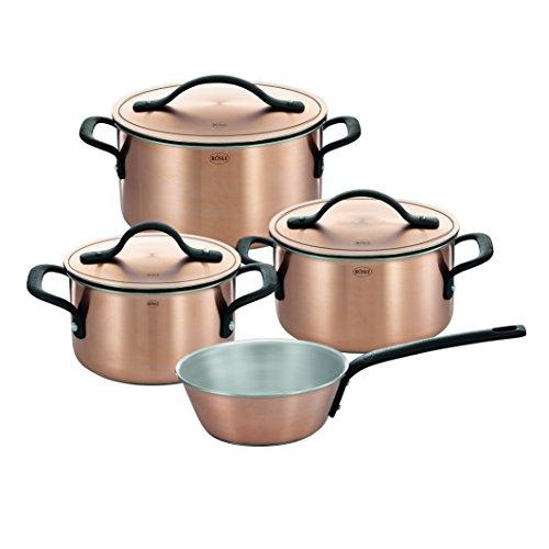 RÖSLE CHALET Topfset, 4-tlg., Kupfer-Mehrschichtmaterial, matt, mit Deckel, Kochtopf, Sauteuse, Innenskalierung, induktionsgeeignet