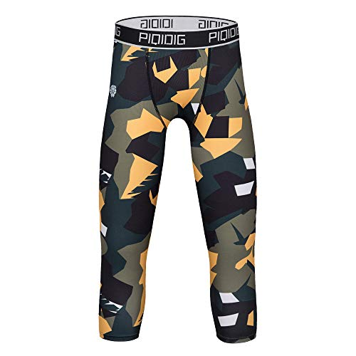 PIQIDIG Youth Boys Compression Pants 3/4 Basketball Tights Sports Capris Leggings (Camo Leaves, Large)