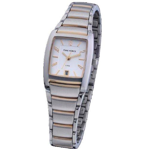 Reloj TIME FORCE de señora. Acero Bicolor Cadena. Calendario. TF-3100L09M