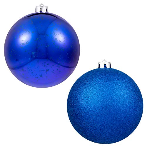 "Christmas Ball Ornaments Sapphire Blue Giant Shatterproof Plastic Decorative Hanging Mercury Ball for Holiday Party Decorations Set of 2,(15cm-6"")"