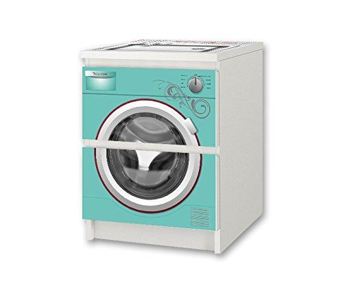 Stikkipix barntvättmaskin turkos möbelklistermärke/dekal – NSD57 – för barnkammare byrå/nattbord MALM från IKEA möbler ingår ej