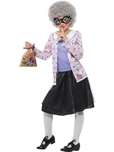 Smiffys 41514L Wailliams License Dress-Up David Walliams Deluxe Gangster Granny Kostüm, Jungen, lila/schwarz, L-10-12 Jahre