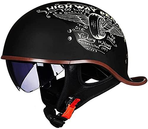 STTTBD Casco de Motocicleta Medio Casco de Bicicleta Casco Retro Medio Casco Unisex Casco de Cola de Pato Ultraligero Protección Solar A,XL