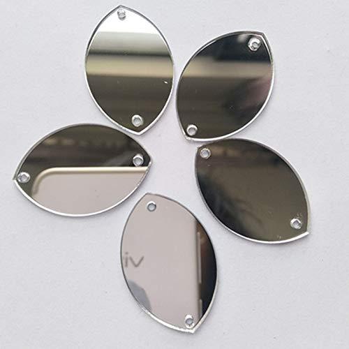 Coser en forma de gota de agua, cuentas de espejo, diamantes de imitación de espejo, para disfraz de noche, ropa, accesorio de decoración plata