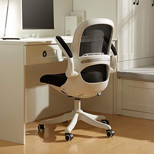 BERLMAN 椅子 オフィスチェア デスクチェア 跳ね上げ式アームレスト メッシュ パソコン 人間工学 コンパクト 30度ロッキング 360度回転 座面昇降 静音PUキャスター ワークチェア 組立簡単 (ホワイト×ブラック)