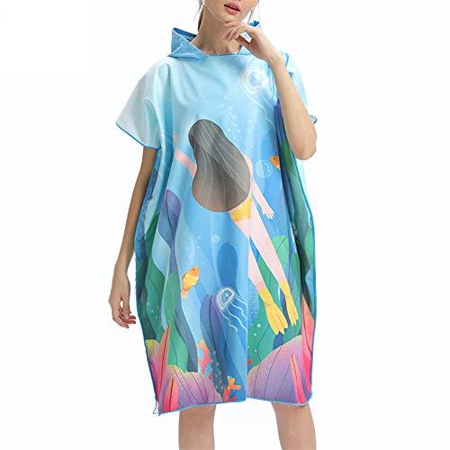 Outdoor Volwassen Strand Handdoeken Snelle Drogen Hooded Veranderende Robe Zonnebrandcrème Mantel Badhanddoek Poncho Microvezel Surf Badpak Mantel