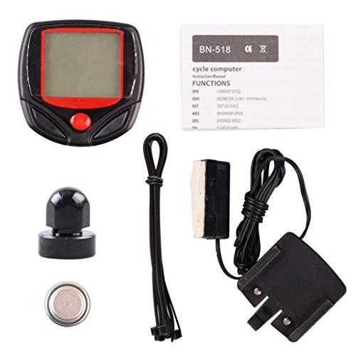 Hellery Velocímetro del Odómetro de 15 Funciones Sin Cable del Ordenador de La Bici de La Pantalla LCD para El de MTB