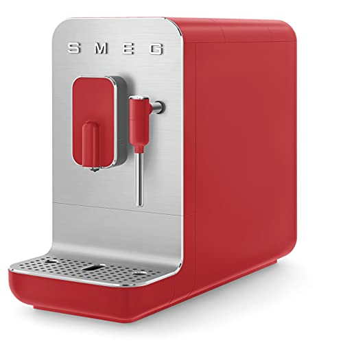 Smeg BCC02RDMEU - Cafetera automática compacta con función vapor, color rojo mate