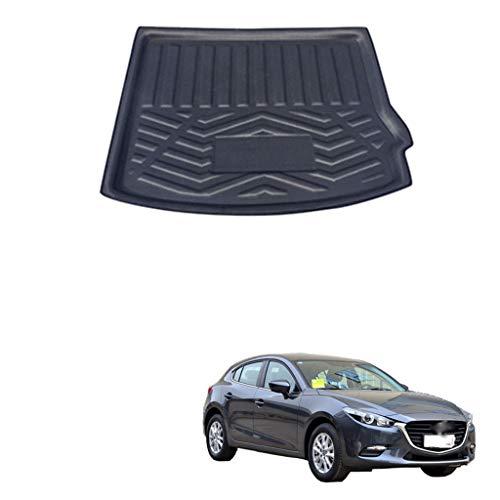 YCGLX Car Schwarz Kofferraummatte Für Mazda 3 Axela BM Hatchback 2014 2015 2016 2017, Passgenau Auto Antirutsch Wasserdicht Hinten Frachtmatte Gepäckraum Innenausstattung Zubehör