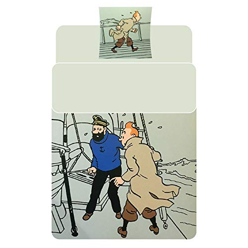 Moulinsart Duvet Cover and Pillowcase Tintin and Haddock 100% Cotton (140x200cm)