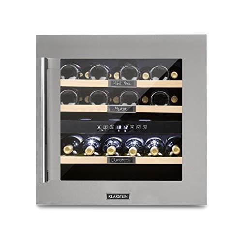 Klarstein Vinsider 36 - Cantinetta Vino, Cantinetta ad Incasso, con Lavagna, 2 Zone di Raffreddamento, Temperatura Regolabile 5-22°C, 94 L, 36 Bottiglie, Classe A, Acciaio Inox