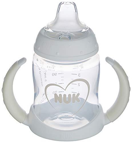 NUK 10215343 First Choice+ Trinklernflasche | 6–18 Monate | auslaufsichere Trinkschnabel aus Silikon | Anti-Colic-Ventil | BPA-frei | 150 ml | Herz (neutral), weiß, 135 g