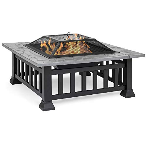 Best Choice Products 32-inch Outdoor Square Patio Metal Fire Pit Table BBQ Grill for Backyard, Camping, Picnic, Bonfire w/Screen Cover, Weather Protector Cover, Poker, Stone Slate Finish, Black