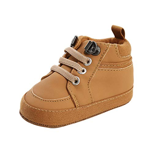 Posional Unisex Baby Girls Boys Star High Top Sneaker Soft Anti-Slip Sole Newborn Infant First Walkers PU Moccasins Shoes(See More Colors and Sizes) (EU 12, Marron)