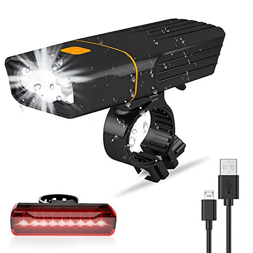 Luz Bicicleta, Luzde Bicicleta LED Recargable USB Super Brillante 3 LED, Linterna...