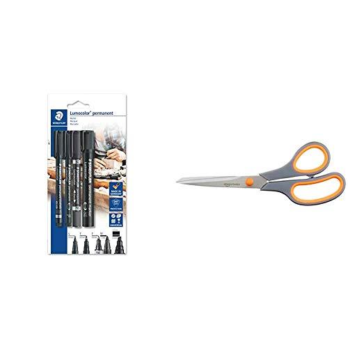 Staedtler Lumocolor permanent 60 BK Juego de rotuladores permanentes con diferentes puntas, 4 unidades en blíster & Amazon Basics - Tijeras con mango suave y cuchilla de titanio (20 cm, pack de 1)