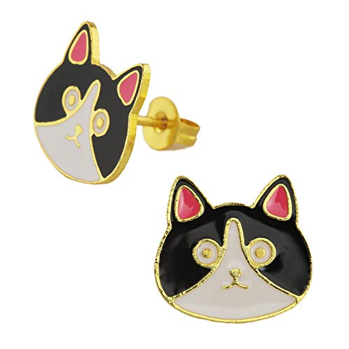 Monkimau Meisjes oorbellen katten oorstekers van messing 18k goud geplateerd