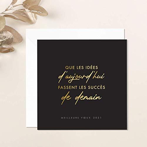 Carte de voeux 2021 • Lot de 16 Cartes • Papier haut de gamme • 16 Enveloppes Blanches • 14x14 cm Pliée • Idéal pour souhaiter la Bonne Année et Nouvel An • Joli Message Noir et Doré • Popcarte