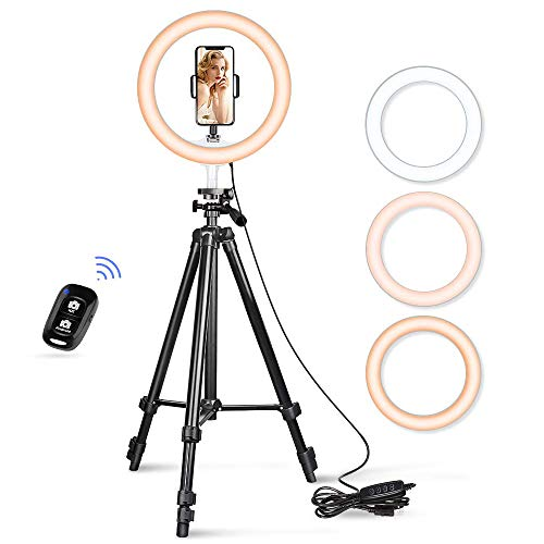 "Aureday 10.2"" Selfie Ring Light, 50"" Extendable Tripod Stand with Phone Holder for Makeup & YouTube Live Stream, Dimmable LED Lightning with Remote, Compatible with iPhone & Android Phone"