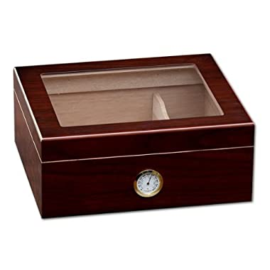 Prestige Import Group - The Chalet Glass Top Cigar Humidor - Capacity: 20-50 - Color: Cherry