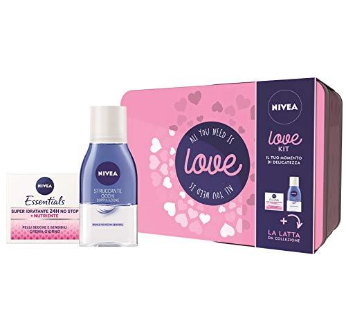 Nivea Love Kit Set Regalo Donna con Nivea Essentials Super Idratante 24h No Stop Crema Viso e Nivea...