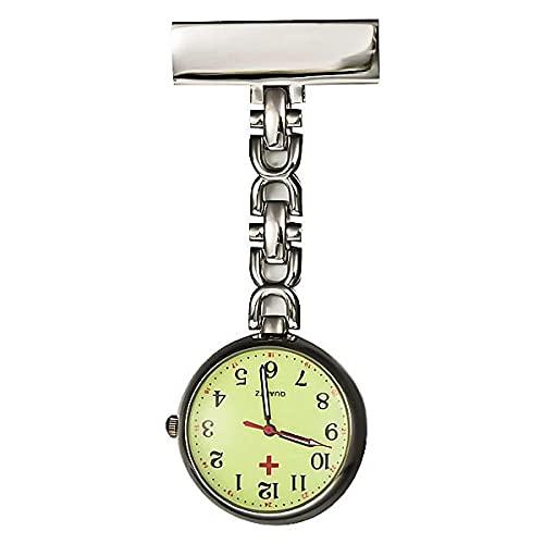 YYMY Enfermera Reloj de Bolsillo,Mesa de medición de Enfermera de Noche Transparente, Movimiento de Cuarzo Doctor-Silver 2