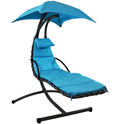 Sunnydaze Floating Chaise Lounger, Outdoor Hanging Hammock Patio Swing...