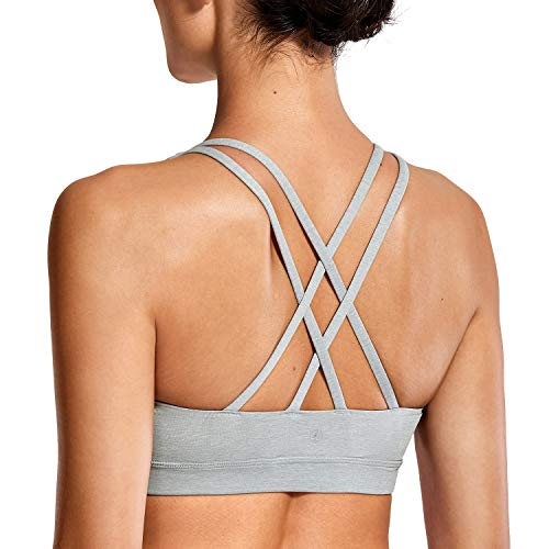 CRZ YOGA Strappy Padded Sports Bra for Women Activewear Medium Support Workout Yoga Bra Tops Heather Multi 3-Logo S