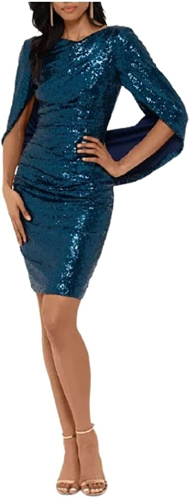 Betsy & Adam Womens Blue Sequined Boat Neck Above The Knee Sheath Cocktail Dress Size 4