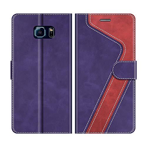MOBESV Custodia Samsung Galaxy S6 Edge, Cover a Libro Samsung Galaxy S6 Edge, Custodia in Pelle Samsung Galaxy S6 Edge Magnetica Cover per Samsung Galaxy S6 Edge, Viola/Rosso