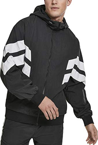 Urban Classics Herren Jacke Crinkle Panel Track Jacket Blk/Wht Größe: 3XL