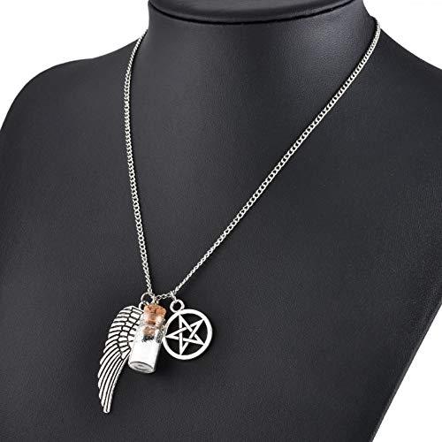 NASHUBIA Persoonlijkheid wens glas zout shaker pentagram ketting engel vleugels Kerstmis hanger ketting