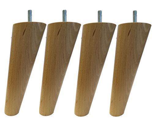 MARGOT 3700527844299 Vintage Compas Lot de 4 Pieds de lit Bois Vernis naturel Hauteur 17 cm