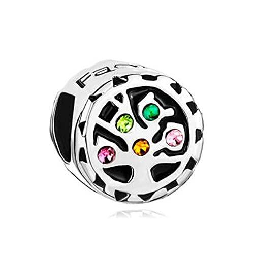 Auténtico Pandora 925 Colgante De Plata Esterlina Diy Colorido Cristalino Árbol De La Vida Abalorios Familiares Pulsera Apta