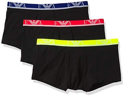 Emporio Armani Underwear 3-Pack Trunk Monogram Trunks, Nero/Nero/Nero, XXL Uomo
