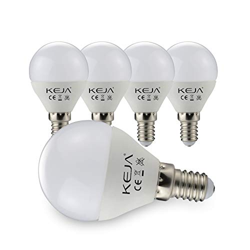 E14 LED Lampen 5 Stück 7Watt, 600 Lumen pro Glühbirne, entspricht 60Watt Glühlampe, 2700 Kelvin Warmweiß, 270° Abstrahlwinkel Energiesparlampe