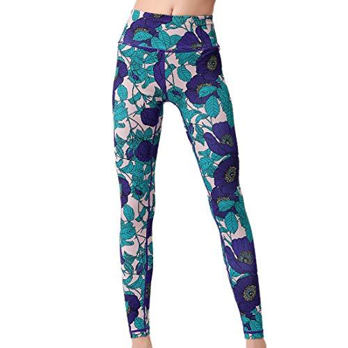 YUPENG Leggings Donna Pantaloni da Yoga Fiori Stampati Pantaloni Sportivi Pantaloni Fitness a Vita Alta con Motivo Leggins Estivi per Allenamento in Palestra M