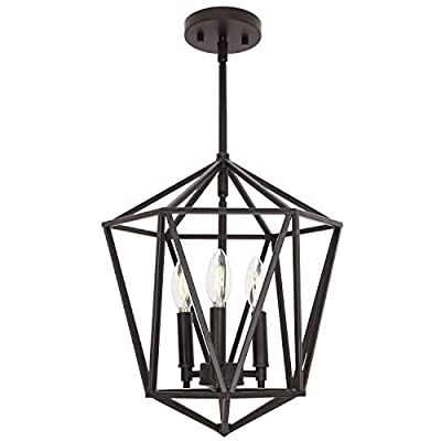 VINLUZ 3 Light Industrial Farmhouse Chandeliers Oil Rubbed BronzeMetal Geometric Lantern Pendant Lighting, Candle-Style Hanging Light Fixtures Ceiling for Kitchen Island Dining Room Bedroom