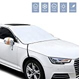 Car Windshield Snow Cover Ice Cover, Rainproof Winter Snow Covers with 4 Layers Protection, Mirror Covers included , Snow,Ice, UV Protector, Large Thickened Ice Snow Windshield Cover for Most Cars.