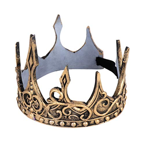 Holibanna corona de plata retro corona de príncipe suave tocado medieval pu para fiesta de disfraces de cosplay halloween (Oro)