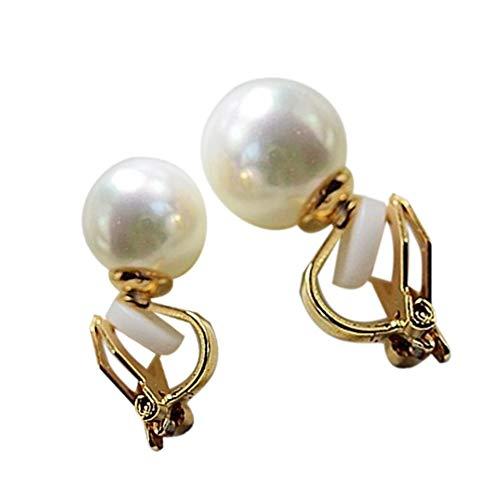 Ruluti 1 Par De Perlas Simple Clip En Los Pendientes para No Piercing para La Mujer Elegante Joyería De La Perla Simulada