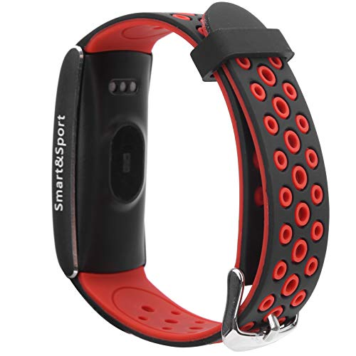 Asixxsix Reloj Deportivo Inteligente, Auriculares inalámbricos Impermeables de Moda Pulsera de Ejercicio con Sensor de Movimiento de 3 Ejes, Correa de Silicona para Atletas(Black Red)