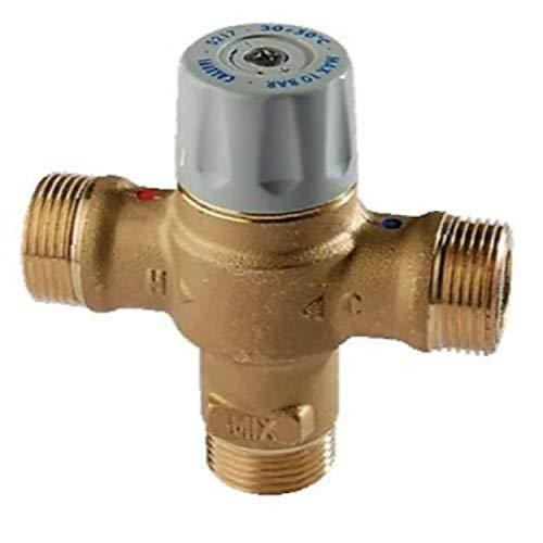 Válvula mezcladora termostática regulable de 35ºC a 55ºC, 5 x 5 x 5 centímetros, color gris (Referencia: 029014)