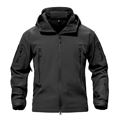 Waterproof Jackets Mens Winter Military Hooded Jacket for Men Windbreakers Softshell Jacket Men Tactical Combat Jackets and Coats for Men Skiing Snowboard Full Zip, Black, Medium (Tag L)