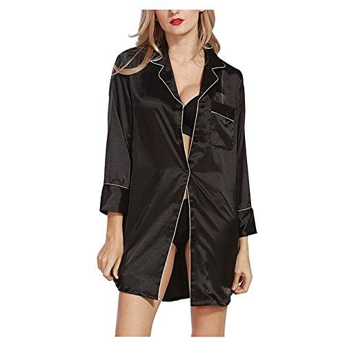 Morbuy Camisón para Mujer, Mujer Camisones Raso Camisa de Dormir Nightdress Elegante Manga Larga, Lujo y Buttoned Collar de la Camisa con el Bolsillo (L, Negro)