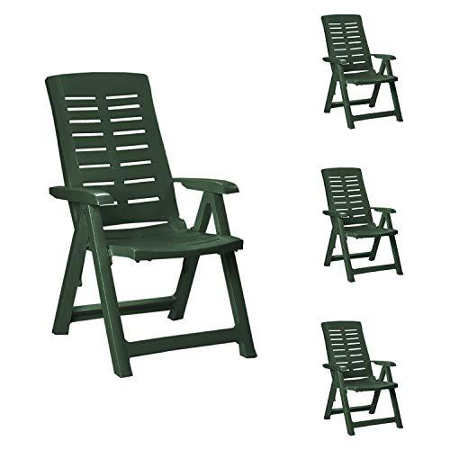 Mojawo 4 STK. Bequeme Klappstühle, Campingsessel für Camping, Terrasse, Garten und Balkon - 5-Fach Verstellbarer Gartenstuhl - witterungsbeständiger Positionssessel - Grün