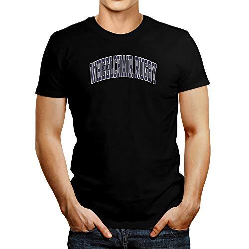 Idakoos T-Shirt mit Rollstuhl-Rugby-Applikation - Schwarz - Mittel