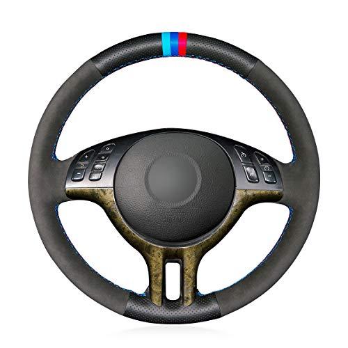 MEWANT Coprivolante in pelle cucito per BMW Serie 3 E46 E46/5 2000 2001 2002 2003 2001 2005 / X5 E53 2000-2001/accessori per volante 323Ci 325Ci 330Ci 325i 325i xi 325 iT 330i 330xi