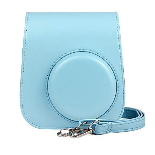 Itian Kamera Schutzhülle mit Schulterriemen und Tasche für Fujifilm Instax Mini 11 Sofortbildkamera(blau)